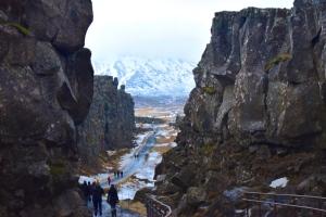 The tall rock faces in Þingvellir National Park