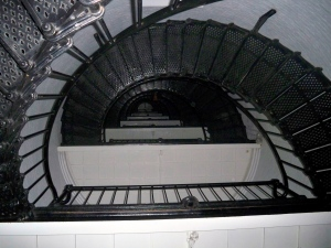 The inside of St. Augustine lighthouse at night
