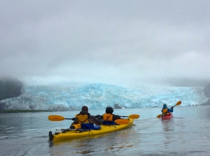 Kayaking up to the glacier (almost one mile from the glacier)
